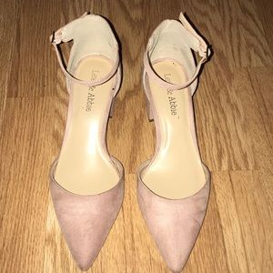 Shoes - Blush Suede Ankle Strap Pointed Toe Block Heel